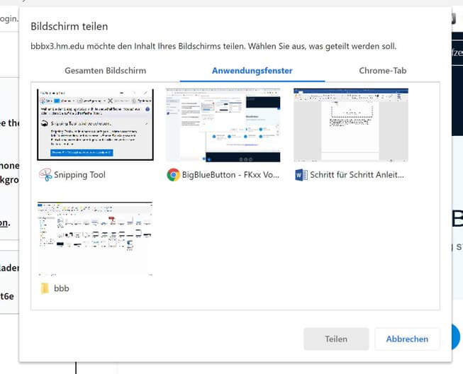 BigBlueButton Bildschirm teilen