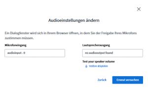 BigBlueButton Audioeinstellungen