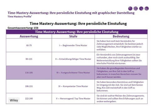 Auswertung Time Mastery Profil